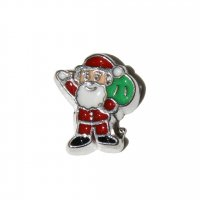 Father Christmas with sack of toys 8mm floating locket charm