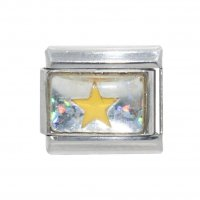 November - Birthmonth star silvery background 9mm Italian charm