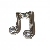 Music Notes with Clear Stone 9mm Floating charm