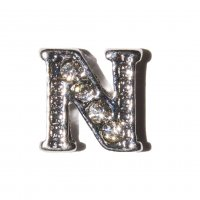 N Letter with stones - floating locket charm