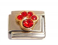 July Birthstone - Ruby - Pawprint 9mm Italian charm