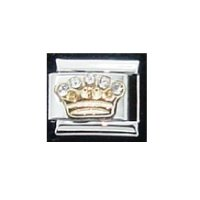 Crown with 5 clear stones - enamel 9mm Italian charm