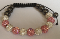 Light Pink & White(2) Crystal Shamballa 10mm Disco ball bracelet