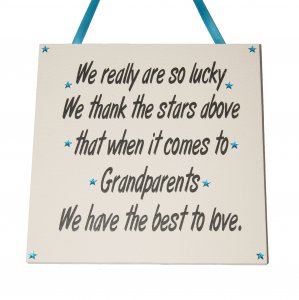 We really are so lucky - Grandparents - Handmade wooden plaque