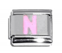 Pink Letter N - 9mm Italian charm