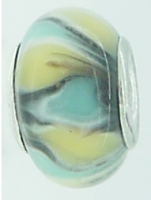 EB127 - Glass bead - Turquoise yellow and black