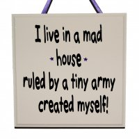 I live in a mad house - Handmade Wooden Plaque