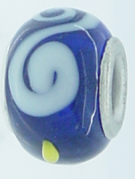 EB243 - Blue bead with white swirls and yellow dots