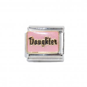 Daughter - Pink sparkly enamel 9mm Italian charm