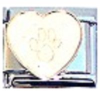 Sparkly Heart with Pawprint - April 9mm Italian charm