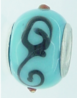 EB240 - Turquoise bead with black swirls and red dots
