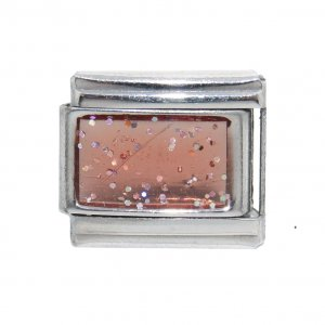 Sparkly rectangle birthmonth - October tourmaline Italian charm