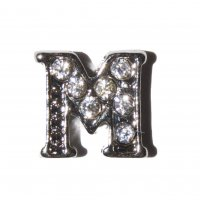 M Letter with stones - floating locket charm