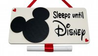 Sleeps until Disney - wooden countdown plaque with Mickey Head
