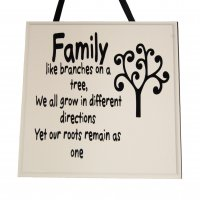 Family like branches on a tree - Handmade Square Plaque