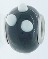 EB88 - Glass bead - Black bead with white dots