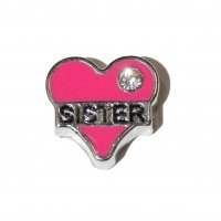Sister in pink heart with stone 8mm floating locket charm