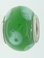 EB83 - Glass bead - Green bead with white dots