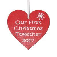 Our First Christmas together 2017 red heart tree decoration