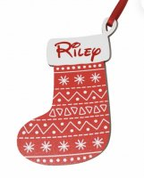 Personalised small red patterned wooden stocking - Christmas