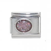 Sparkly Oval - October 9mm Italian charm