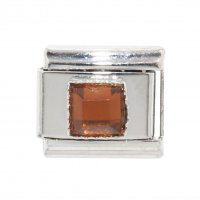 November - Square Birthstone - Citrine 9mm Italian Charm