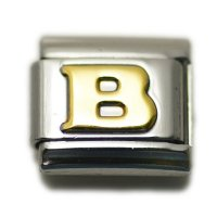 Gold colour Letter B - 9mm Italian charm