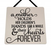 A mother holds her children's hands - Black - Handmade Square Pl