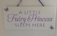A little fairy princess sleeps here - Purple - Wooden plaque