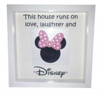 This house runs on love laughter and Disney - Minnie - Box frame