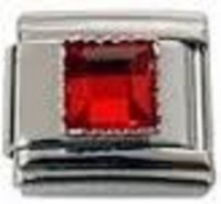 July - Square Birthstone - Ruby 9mm Italian Charm