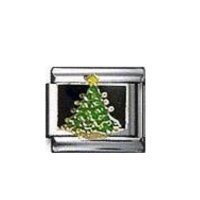 Christmas tree black background - enamel 9mm Italian charm