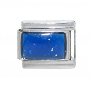 Sparkly rectangle birthmonth - September sapphire Italian charm