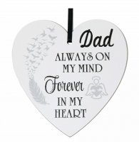Dad always on my mind forever in my heart - 9cm wooden heart