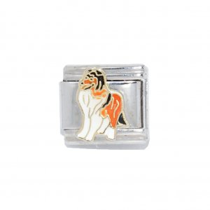 Collie dog (a) - enamel 9mm Italian charm