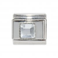 April - Square Birthstone - Diamond 9mm Italian Charm