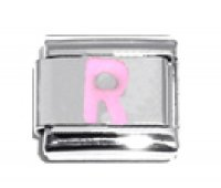 Pink Letter R - 9mm Italian charm