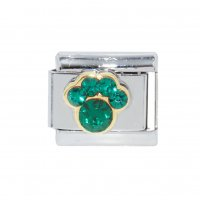 May Birthstone - Emerald - Pawprint 9mm Italian charm