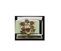 February Flower New Birthstone - Amethyst - 9mm Italian charm