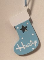 Blue Wooden Christmas Stocking personalised with any name
