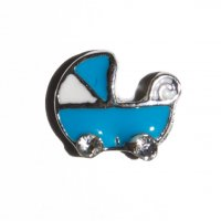 Baby boy pram with clear stones 9mm floating locket charm