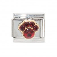 January Birthstone - Garnet - Pawprint 9mm Italian charm