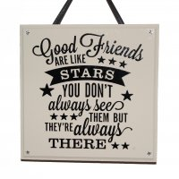 Good friends are like stars - Black - Handmade square plaque