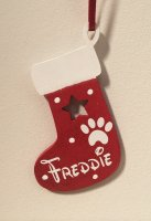 Red Pet Wooden Christmas Stocking with name of your choice