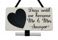 Personalised Wedding Countdown plaque - wooden plaque black