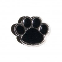 Black Pawprint (b) 9mm floating charm fits origami owl