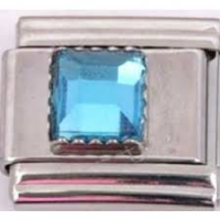March - Square Birthstone - Aquarmarine 9mm Italian Charm