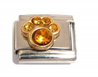 November - Birthstone Citrine - Pawprint 9mm Italian charm
