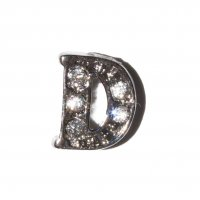 D Letter with stones - floating locket charm