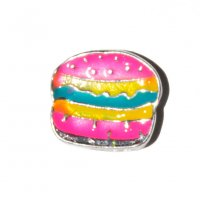 Pink Burger 9mm floating locket charm